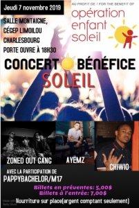 Affiche du Concert-bénéfice Soleil (Cegep Limoilou)